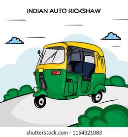Indian Auto Rickshaw Vector Illustration