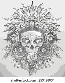 Indian aztec skull hand drawn vector illustration
