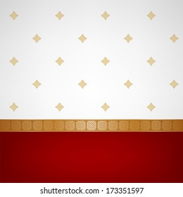 Indian background with sari pattern. Invitation or greeting card.