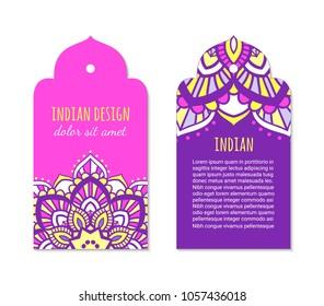 Indian badge set with bright colorful mehendi mandala ornament. Ethnic arabian ornamental label. Oriental tag design concept. Asian brochure template. Eastern style. EPS 10 vector.