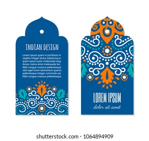 Indian badge set with bright colorful mehendi mandala ornament. Ethnic arabian ornamental label. Oriental tag design concept. Asian brochure template. Eastern style. EPS 10 vector.