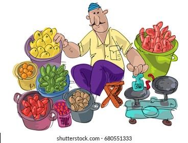 An indian barefoot street market vendor offers some vegetables.