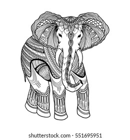 Indian beautiful elephant in zentangle ornament asian style. Ornate elephant in doodle design for antistress coloring pages print, cards, invitations, t-shirt.Hand drawn vector illustration
