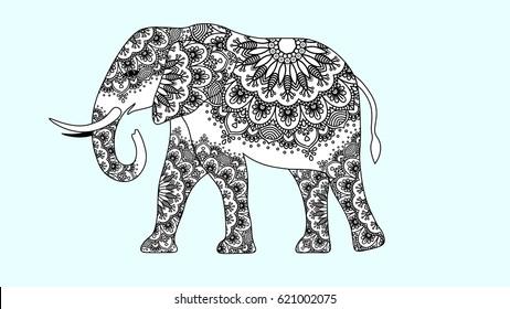 Indian beautiful elephant in zentangle ornament asian style. elephant mandala razukrashka Antistress