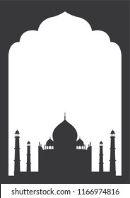 Indian black frame with Taj Mahal on white background