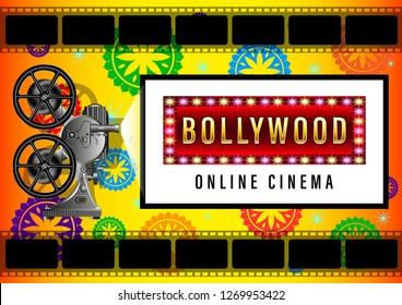 Indian Bollywood Online Cinema Banner for web yellow background design. Movie screen, poster with beautiful patterns in a circle, Realistic film projector