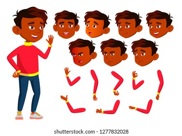 Indian Boy, Child, Kid, Teen Vector. Happy Childhood. Hindu. Face Emotions, Various Gestures. Animation Creation Set. Isolated Flat Cartoon Character Illustration