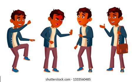 Indian Boy Schoolboy Kid Poses Set Vector. High School Child. Schoolchild. September, Schoolchildren, Teen. For Web, Poster, Booklet Design. Isolated Cartoon Illustration