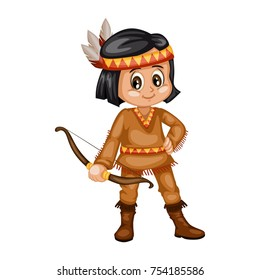 Indian Boy Vector Illustration. Native American Cartoon Boy