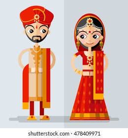 Indian  Bridal Couple in flat style.
