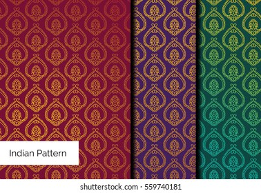 Indian Brocade pattern Vector pattern set. Great print for yoga flyers, banners, wedding invitations. Festive background