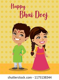 An Indian brother and sister are standing wishing everyone a happy 'Bahi Dooj' or 'Bhau beej'. This is a festival where sisters wish for a long prosperous lives for their brothers.