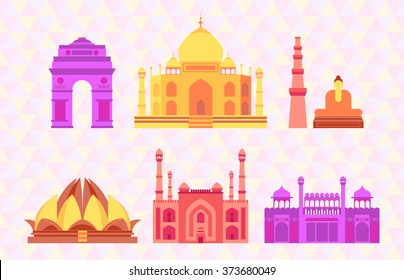 Indian buildings vector illustration
