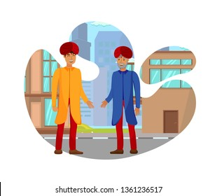Indian Business Partners Flat Vector Illustration. Family Business. Men in Turbans have Friendly Conversation near Office Center. Colleagues, Coworkers Characters. Boss and Worker, Father And Son