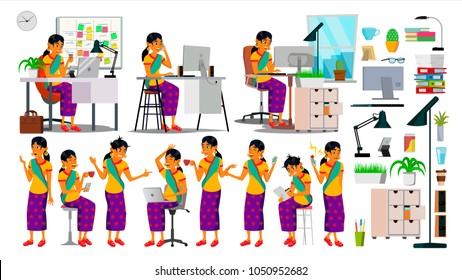 Indian Business Woman Character Set Vector. Working Indian Girl Poses. Hindu Female In Action. Creative Studio. Teamwork Business Workplace. Female. Situation. Designer, Manager. Illustration