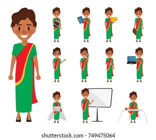 Indian business woman in job character. business people illustration vector.