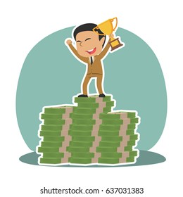 indian businessman on top of money stacks with trophy
