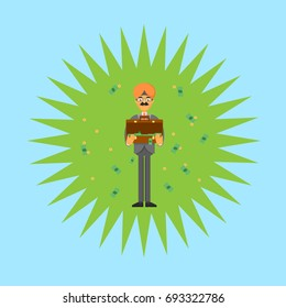 Indian businessman with open suitcase full of money. Standing young man in business suit and turban vector illustration. Business negotiations banner, finance investment and savings concept.