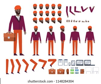 Indian businessman with turban on head creation kit. Create your own action, pose, animation. Various design elements, gestures, avatars. Flat design vector illustration