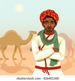 Indian cameleer gypsy man