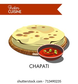 Indian chapati with hot sauce isolated cartoon illustration