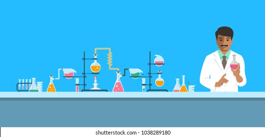 Indian chemist in chemical laboratory. Flat vector background. Cartoon horizontal banner. Hindu man scientist in white coat holds flask with new medicine at pharmaceutical equipment. Medical research