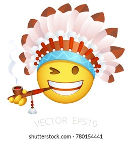 Indian chief emoji. Emoticon of Native American in the ethnic feather headdress.  Funny leader of any Indian tribe with a war bonnet winks, smokes a wooden Pipe of Piece. Chat smiley; isolated vector.