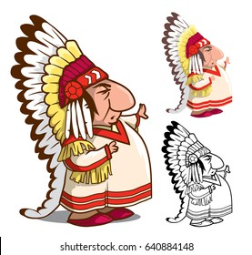 Indian chief in feather headdress. Isolated cartoon character. Colored with the contour, colored and outline vector illustration