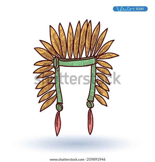 Indian Chief Hat Plumage Vector Illustration Stock Vector (Royalty