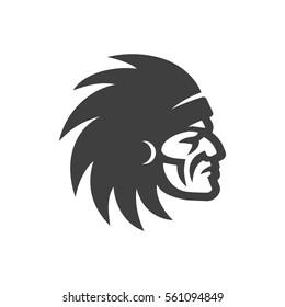 Indian Chief Head Icon. Native american logo.
