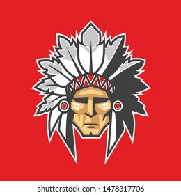 Indian chief head vector design illustration