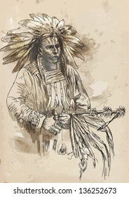 Indian chief holding a peace pipe. /// A hand drawn illustration converted into vector. Vector is editable in 4 layers.