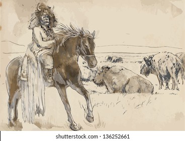 Indian Chief riding a horse, watching buffalo herd. /// A hand drawn illustration converted into vector. Vector is editable in 7 layers.