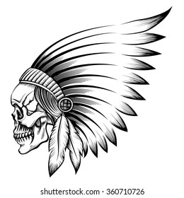 Indian chief skull in engraving style