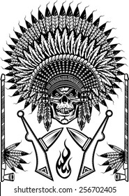 Indian chief skull with peace pipe and tomahawk of war