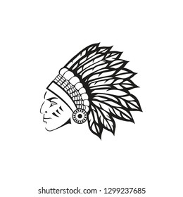 Indian chief with traditional headdress- An Ilustration Vector