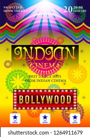 Indian Cinema Bollywood  poster for night party background design. Movie banner with beautiful patterns  in a circle. Vector Illustration