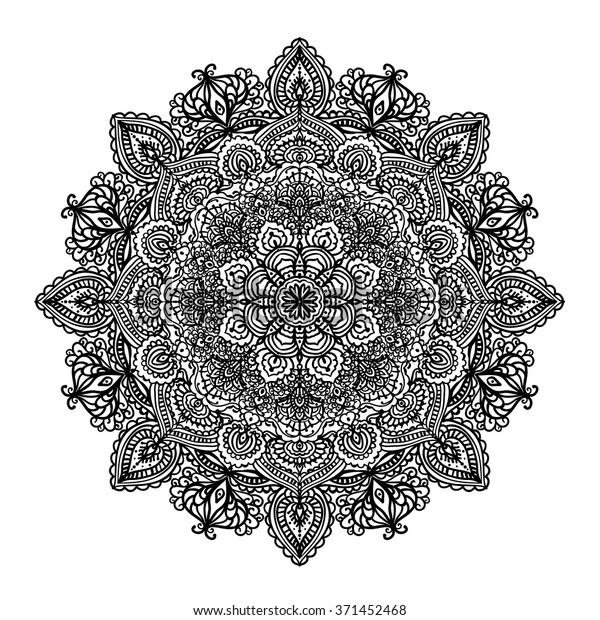 indian circular pattern mandala coloring 600w