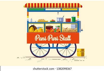 indian cities illustrator Pani Puri Stall