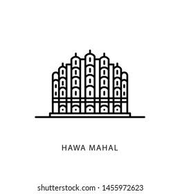 Indian city icon. Jaipur-Hawa Mahal. Rajasthan. Minimal vector illustration, linear style.