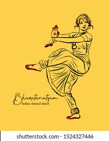 indian classical dance Bharathanatiyam sketch or vector illustration