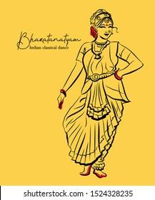 indian classical dance Bharathanatiyam sketch or vector illustration