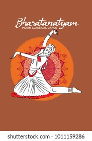 Indian classical dance. Creative design for your wall graphics, painting, invitation and poster.