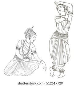 Indian classical dance. Odissi -  Indian dance. Indian dancer. Vector illustration