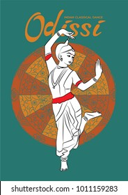 Indian classical dance odissi vector illustration.