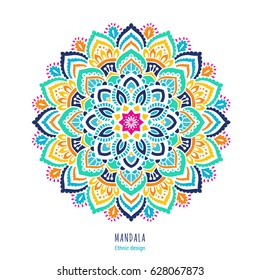 Indian colorful; mandala ornamentation design. Asian traditional mehandi style decor. EPS 10 vector illustration isolated on the white background.