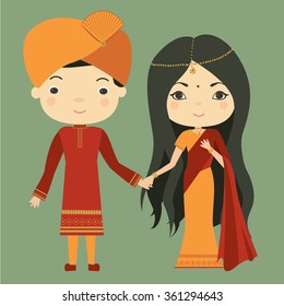 Indian couple in traditional costumes. Indian girl and Indian man. Vector illustration