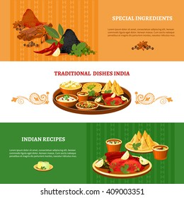 Indian cuisine 3 flat banners set with traditional dishes with special ingredients recipes abstract isolated vector illustration