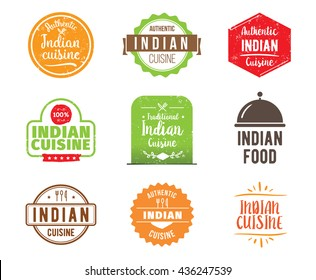 Indian cuisine, authentic traditional Indian food typographic design set. Vector logo, label, tag or badge for restaurant and menu.