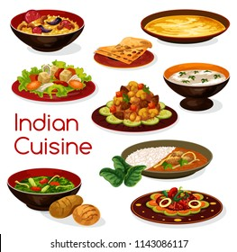 Indian cuisine curry dishes, served with lemon rice and pita bread, vegetable spinach stew, chicken almond and lentil soup, fried cheese and mushroom warm salad. Asian restaurant dinner design